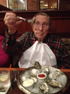 Dad's 95th birthday dinner. He LOVES oysters.